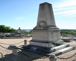 The war memorial and cemetery overlook the Seine valley