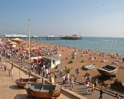 Crowds enjoy the weather on Brighton beach