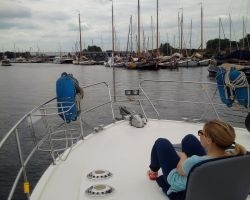 Sarah enjoying cruise to Muiden