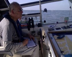 Me log keeping during our Lowestoft to IJmuiden sea passage