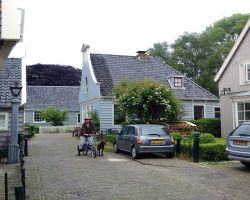 Max and I outside traditional house in Broek-in-Waterland