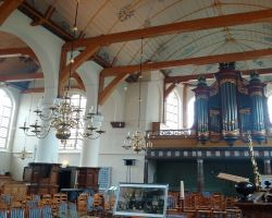 Colourful interior of St-Nicholas protestent church in-Broek-in-Waterland