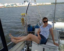 Kathleen relaxing aboard in NoordZeekanaal trip