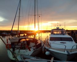 A very fine and warm evening to enjoy the sunset from Lady Martina moored in Southwold Harbour