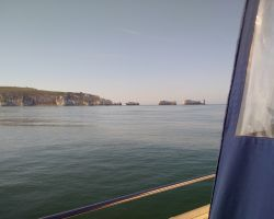 2-Approaching The Needles off the IOW in fast following current but spectacularly calm seas