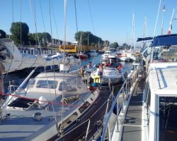 Lady Martina in a packed lock of more than 40 boats at Ouistreham