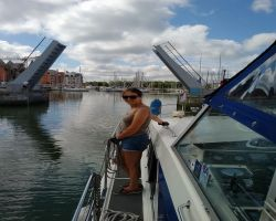 Kathleen ready as we enter Bassin Mornay Deauville