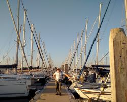 Flanked by a Cathedral of boats at the expensive Lymington Haven Marina