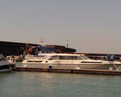 Lady Martina moored up at the visitor's pontoon at Brighton Marina