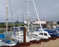 Lady Martina safely moored up early in the tide at Woodbridge Tide Mill Marina