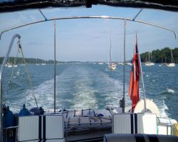 Looking astern as we cruise up the River Orwell