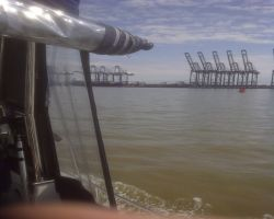Harwich Dock Cranes Viewed from Lady Martina when passing