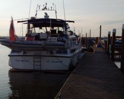 Safely arriving in Southwold Harbour on a pontoon mooring